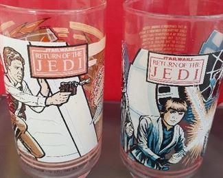 Vintage (1983) Burger King Return of the Jedi glasses. Han Solo (left) Luke Skywalker (right)