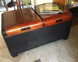 Storage ottoman with two bentwood trays that fit over top