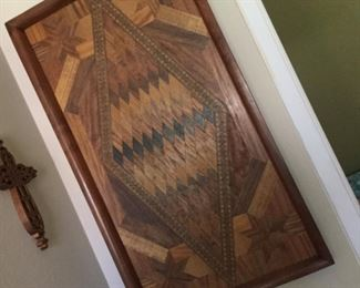 One of a kind inlaid wood tray from 1930s