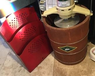 Old fashioned ice cream maker, wall holder