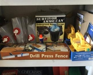 Emergency water bottles, ammo storage, drill press fence, etc.