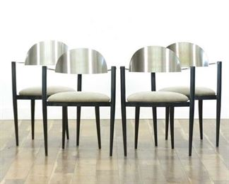 Set 4 Elite Manufacturing Modernist Metal Dining Chairs