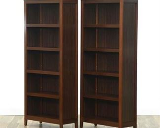 Pair Contemporary California Craftsman Style Bookcases