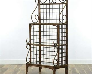 British Colonial Asian Bentwood & Rattan Etagere Shelf