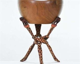 Carved Teak Tribal African Bowl W Giraffe Stand