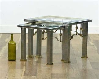 Pair Metal Frame Nesting Tables W Beveled Glass Tops