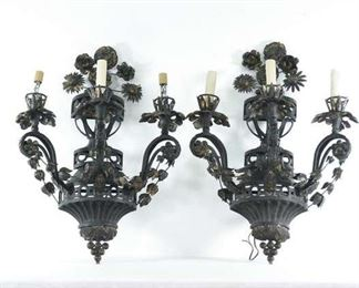 Pair Cast Metal Wall Sconce Light Fixtures