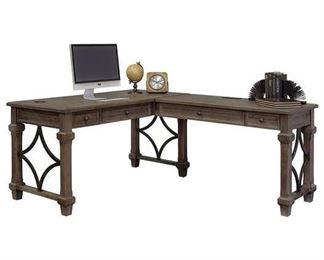 Martin Furniture L-Shaped Desk In Weathered Dove