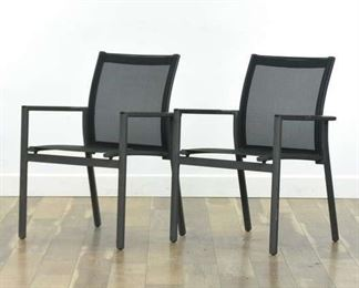 Pair Gloster Contemporary Black Patio Armchairs