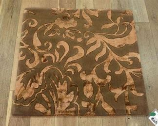 Handmade Brown & Copper Floral Pattern Area Rug