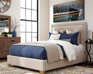 Partial Madeleine Beige King Bed Rails & Footboard Only