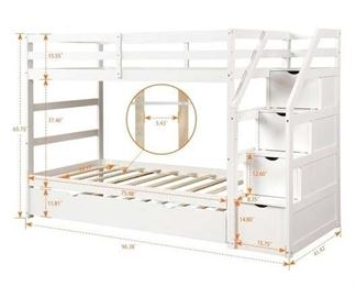 White Sidney Twin Over Twin Bunk Bed (Steps Only)