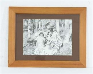Edward S Curtis 'Assinihoin Mother & Child' Famed Print
