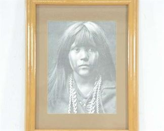 Edward S Curtis Portrait Of Young Native Girl Print