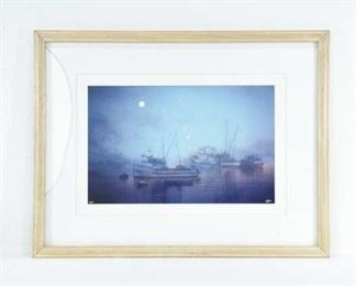 Framed Ships At Dock Print W/ Cracked Glass
