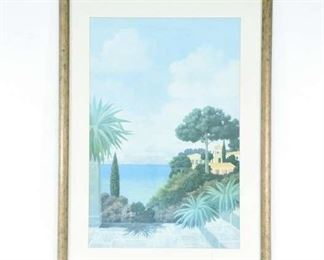 Tuscan Framed Printed W/ Small Crack In Glass