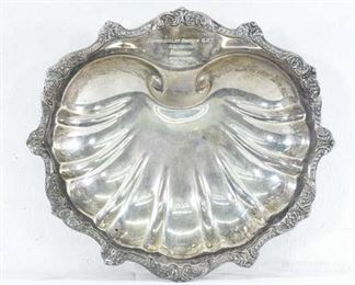Vintage Clamshell Motif Silverplate Tray