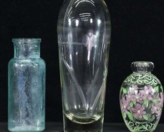 Set Of 3 Mixed Glass Bottles & Table Vase