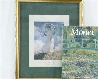 Pair Of Monet Items - Hardcover Book & Painting Print