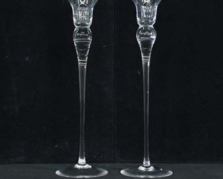 Pair Crystal Like Glass Long Stem Candlestick Holders