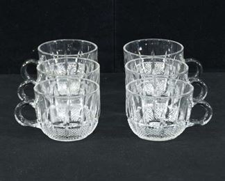 Set Of 6 Waterford Style Glass Punch Tea Cups
