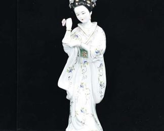 Hand Painted Asian Maiden Holding Flower