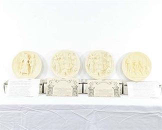 Set 4 Alabaster Relief Decorative Plates, Italy