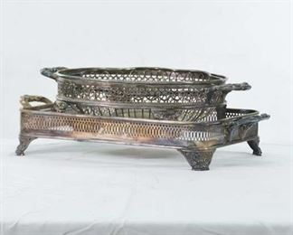 Set Of 3 Mixed Silverplate Baskets & Stands