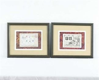 Pair Of Framed English First Day Cover Stamps Art
