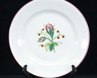 Vintage Hand Painted Moss Rose Plate W/ Display Stand