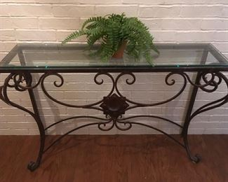 Iron and glass sofa/entry table.