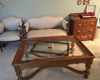 Coffee table, settee, arm chair and washstand
