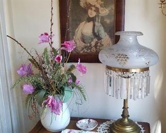 Antique Bronze and Crystal Chandelier lamp, Vitorian Chromolithograph orig frame/glass, Large Ironstone pitcher, 2 pcs Barker Bros England Royal Tudar ware Porcelain