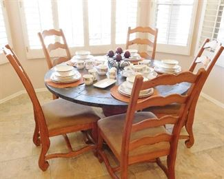 Tile topped table for 6 and 6 maple chairs