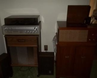 stereo turntables and record cabinets