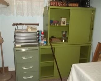 loads of vintage metal storage cabinets, most on wheels!