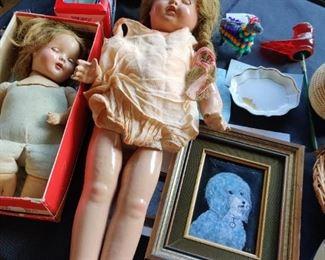 antique sleep eye doll, real hair