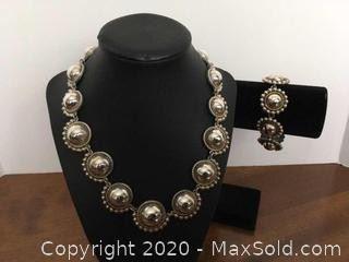Sterling Silver Mexico Necklace Bracelet