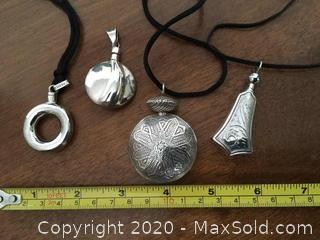 Group Of 4 Sterling Silver Perfume Vials Mexico
