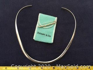 Sterling Silver Necklace, Tiffany SS 14K Bead Pin