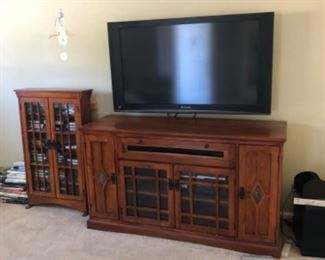 TV in great working order, stereo equipment inside TV cabinet.