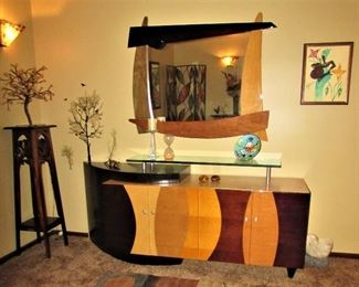 Modern Mirror and Credenza, Art, Paperweights, Decorator Table