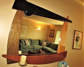 Modern Lacquer and Wood Tone Mirror