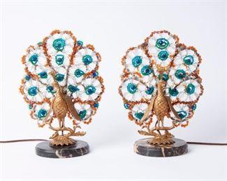 3: 1930s Czech Art Deco Beaded Peacock Lamps, Pair