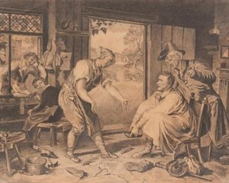 6: Mid-19th c. Pencil Drawing, Genre Scene with Cobbler