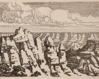 9: Birger Sandzen 'In the Grand Canyon' Signed Lithograph