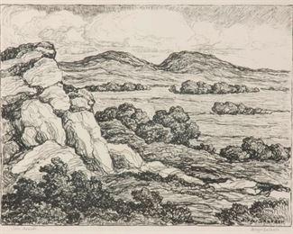 11: Birger Sandzen 'Twin Mounds' Pencil-Signed Lithograph