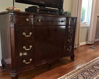 """Beautiful Antique Burl Walnut Server.  Measures 51"""" x 22.5"""" deep and 36"""" tall.  Available now!  Call Linda at 615-268-5388."""