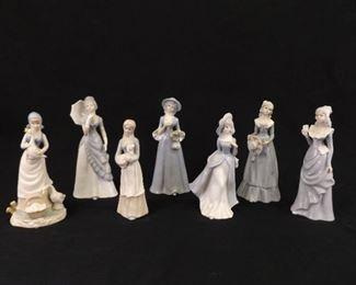 """Lot of 7 Vintage 9"""" Porcelain Lady Figurines"""