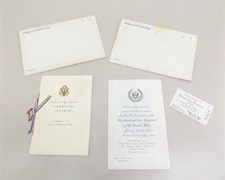 2 Unused 1957 Eisenhauer/Nixon Inauguration Invitations, Programs, Tickets, etc.